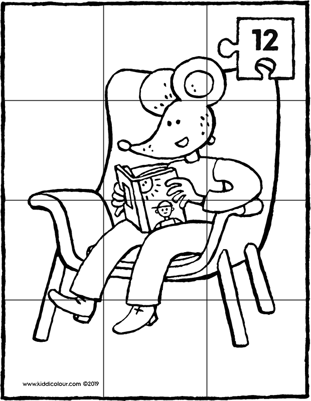 Thomas reading a book in an armchair – 12-piece puzzle - colouring page drawing picture 01k