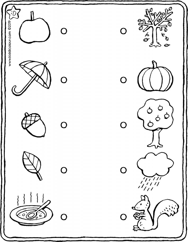 autumn – link the items that go together (observation exercise) colouring page drawing picture