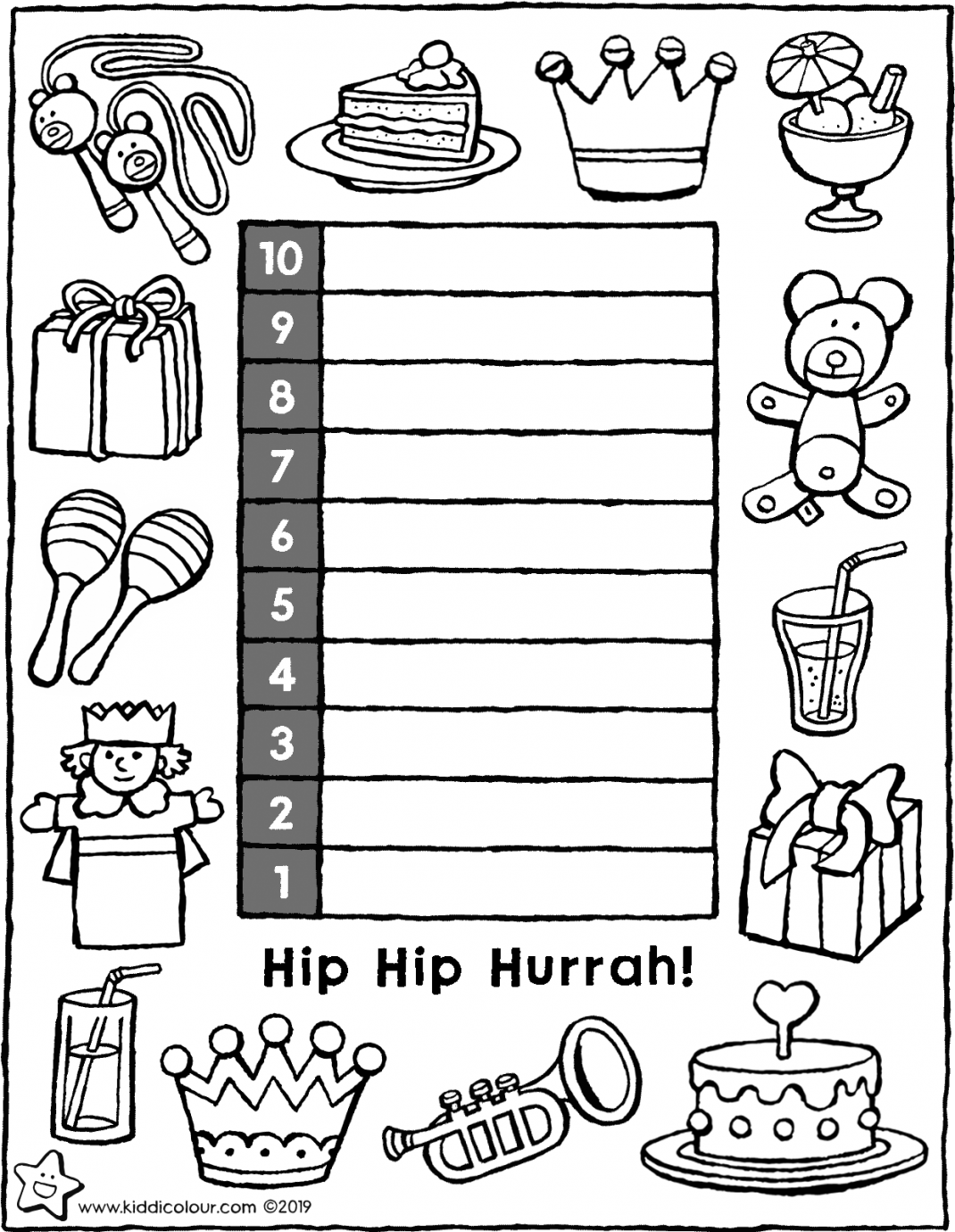 countdown calendar for your birthday colouring page drawing picture 01V