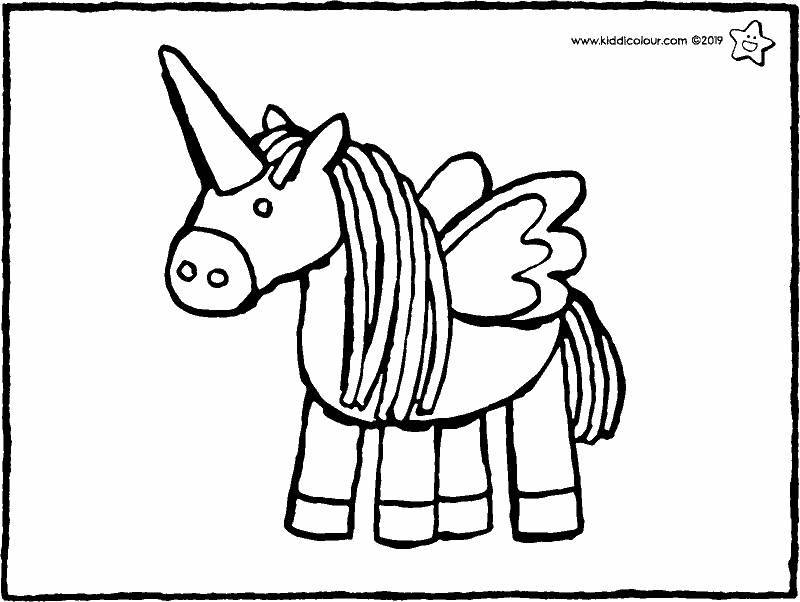 unicorn cuddly toy colouring page drawing picture 01k
