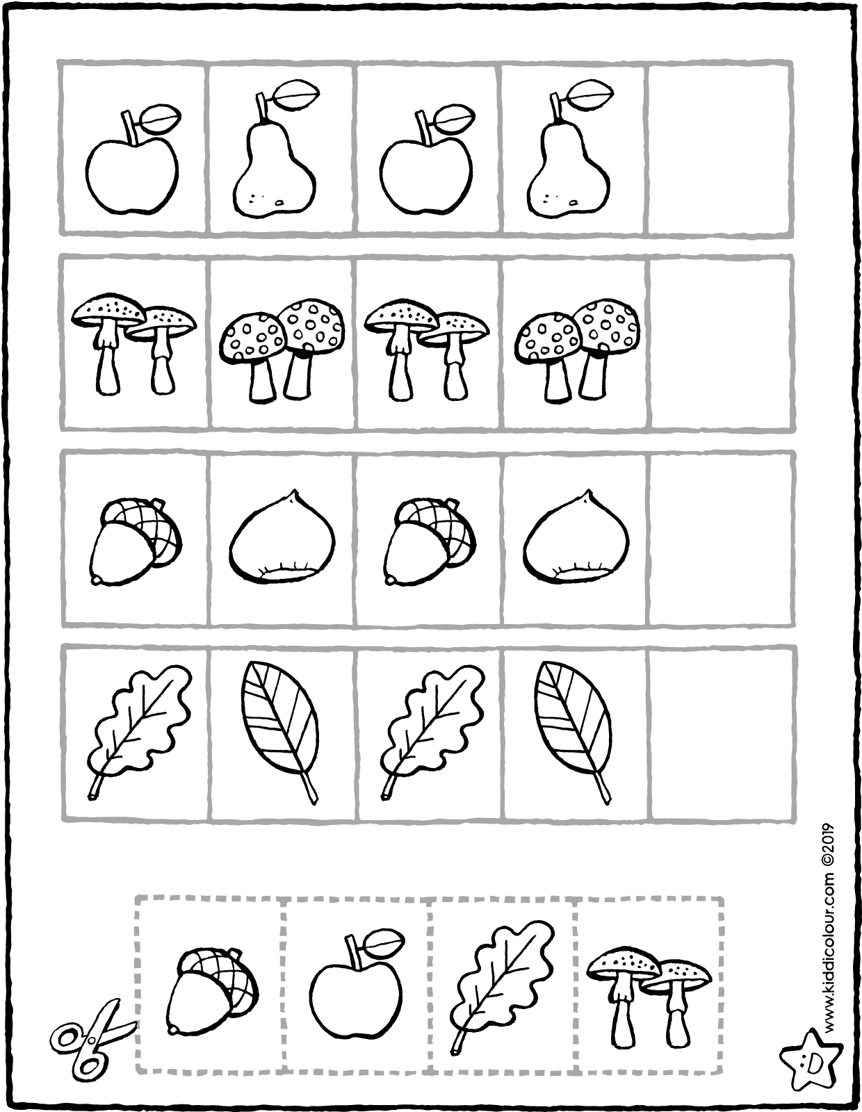 what comes next – autumn herfst colouring page drawing picture 01V