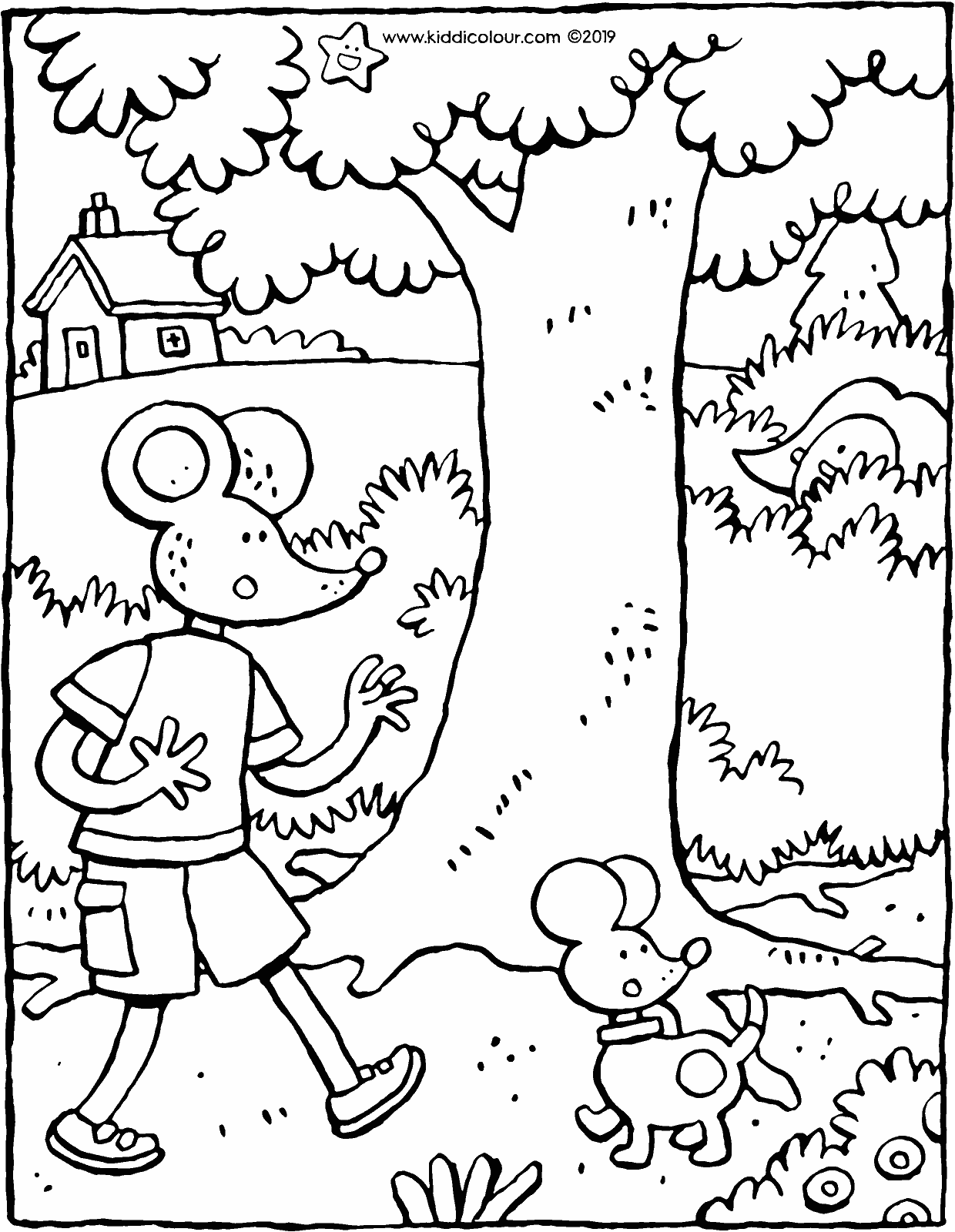 Emma and Thomas play hide-and-seek colouring page drawing picture 01V