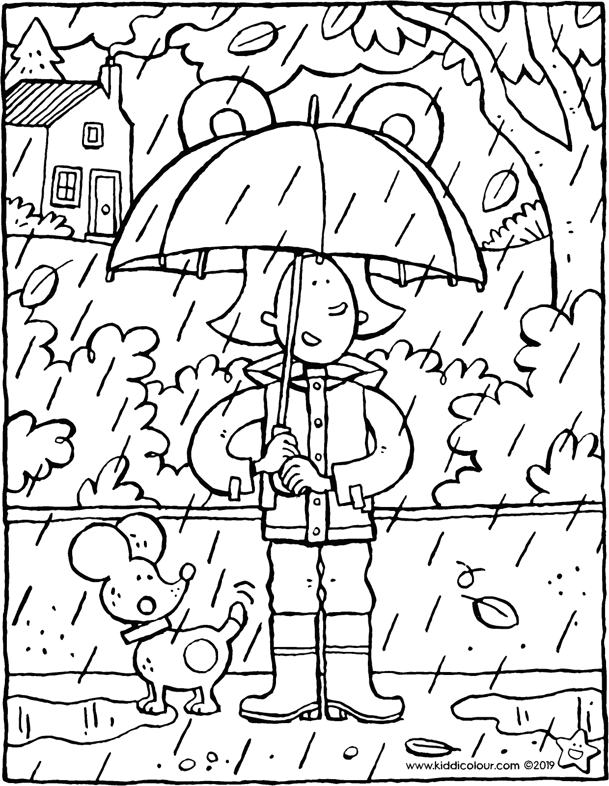 Emma with an umbrella on a rainy autumn day - colouring page drawing picture 01V