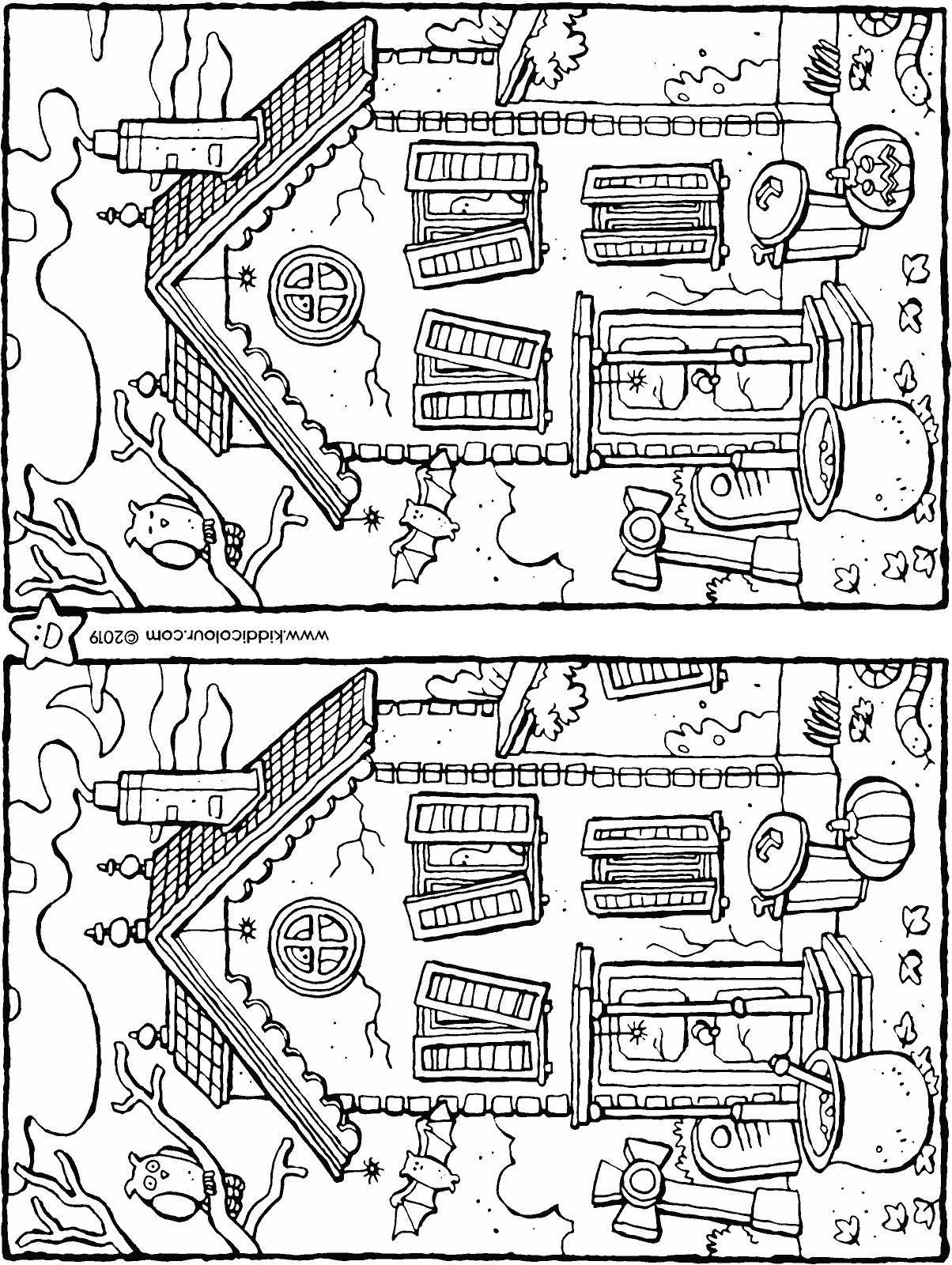 Halloween – spot the 7 differences - colouring page drawing picture 01H