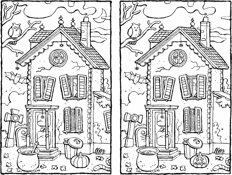 Halloween – spot the 7 differences - colouring page drawing picture 01K