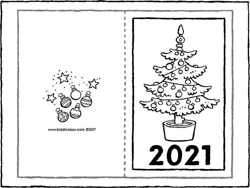 New Year's card 2021 colouring page drawing picture 01k