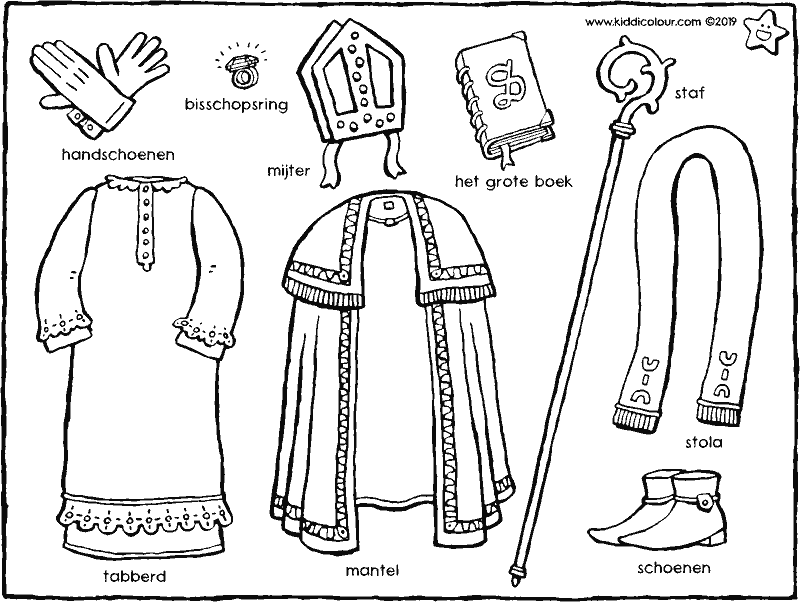 Saint Nicholas' clothes colouring page drawing picture 01k