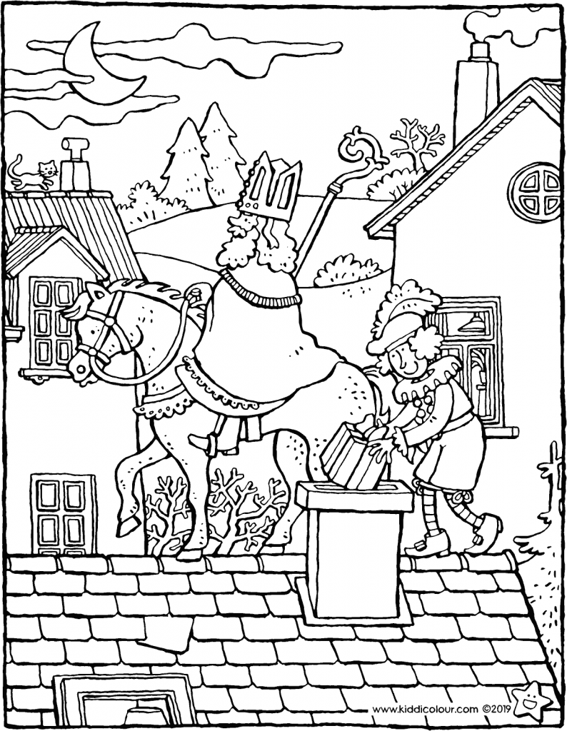Saint Nicholas and Pete on the roof colouring page drawing picture 01V
