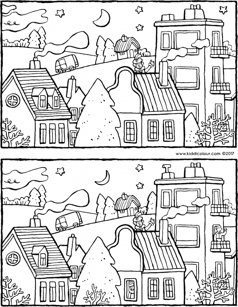 Saint Nicholas is coming to visit – spot the 10 differences - colouring page drawing picture 01V