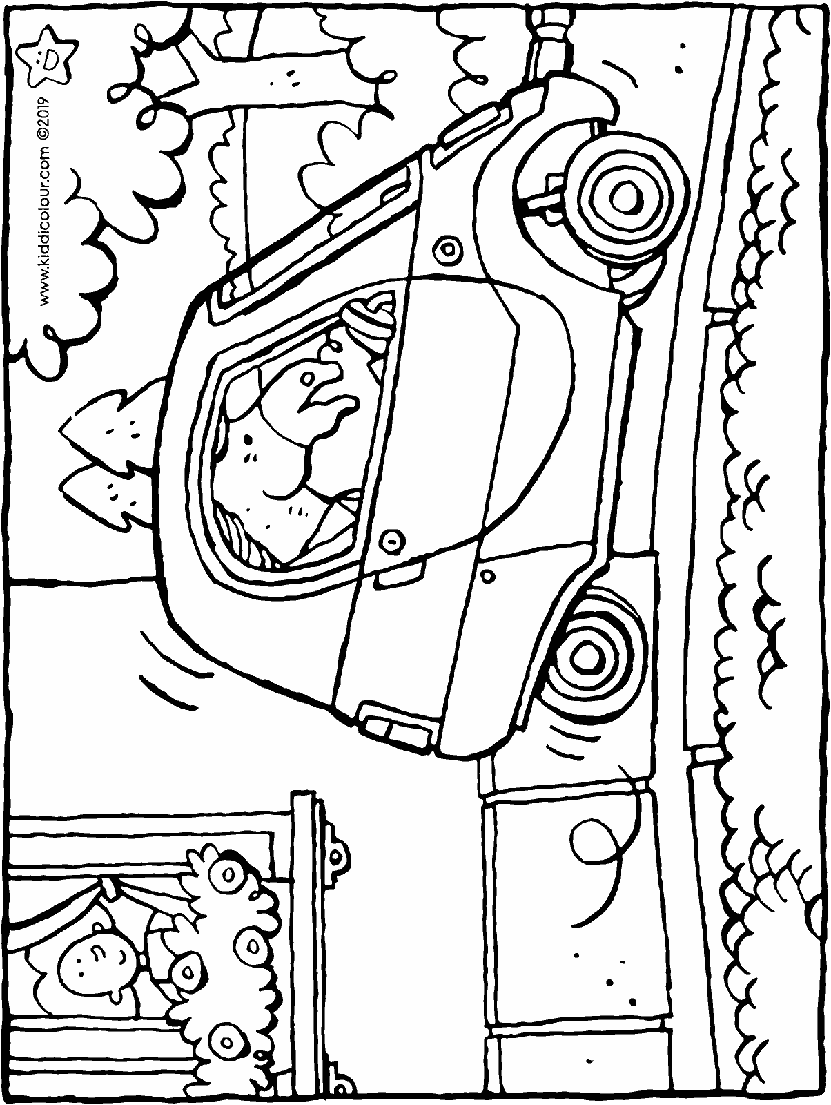 a little car drives trough the street colouring page drawing picture 01H