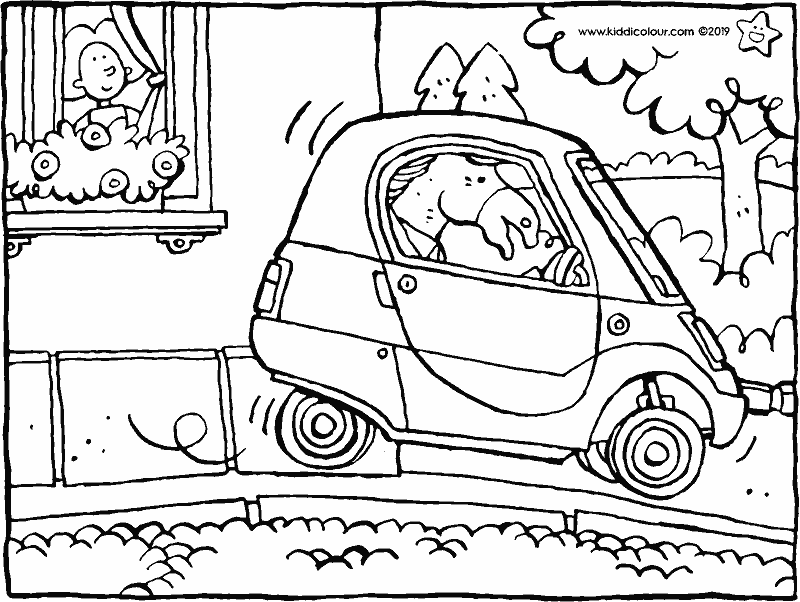 a little car drives trough the street colouring page drawing picture 01k