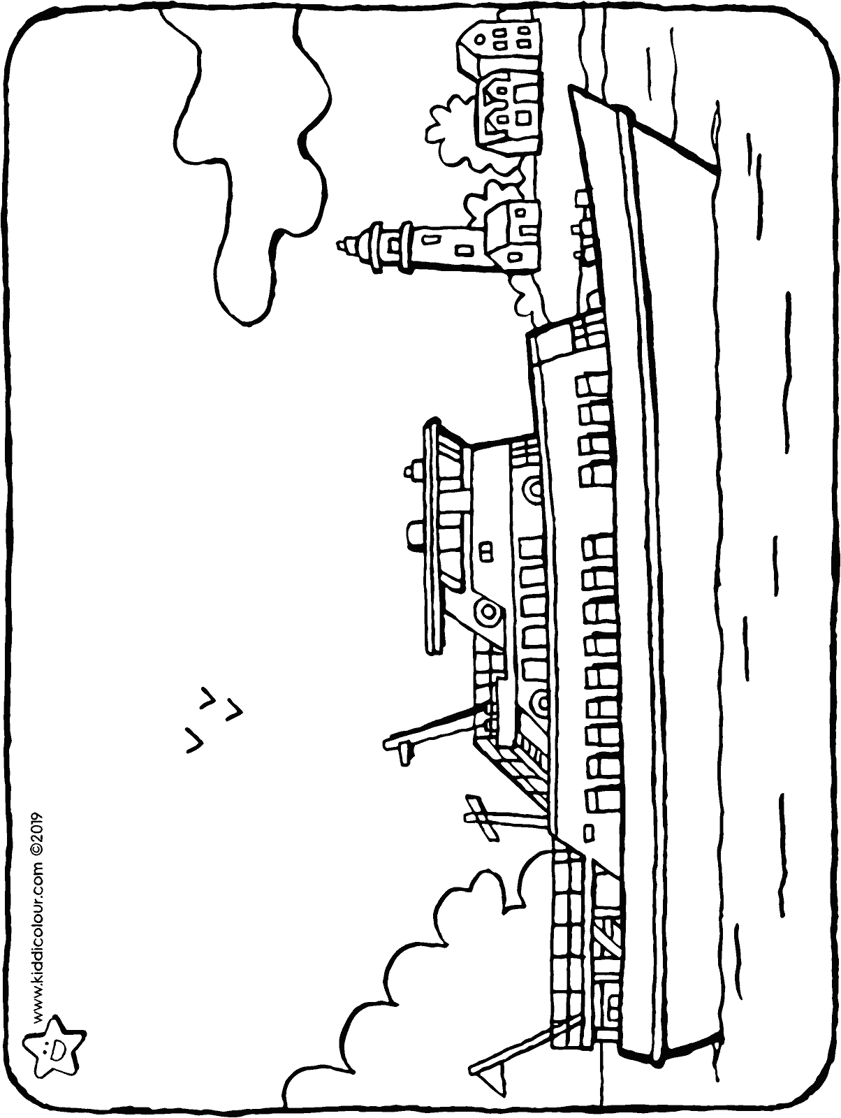a small passenger boat colouring page drawing picture 01H
