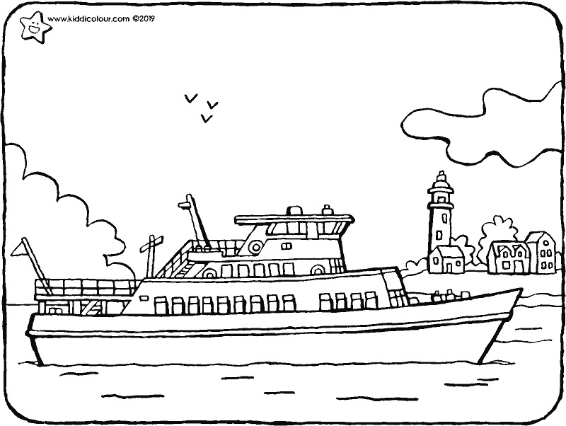 a small passenger boat colouring page drawing picture 01k
