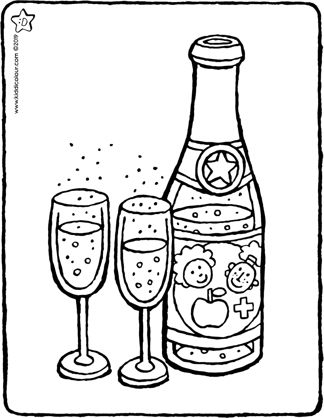 children's champagne colouring page colouring picture drawing 01V