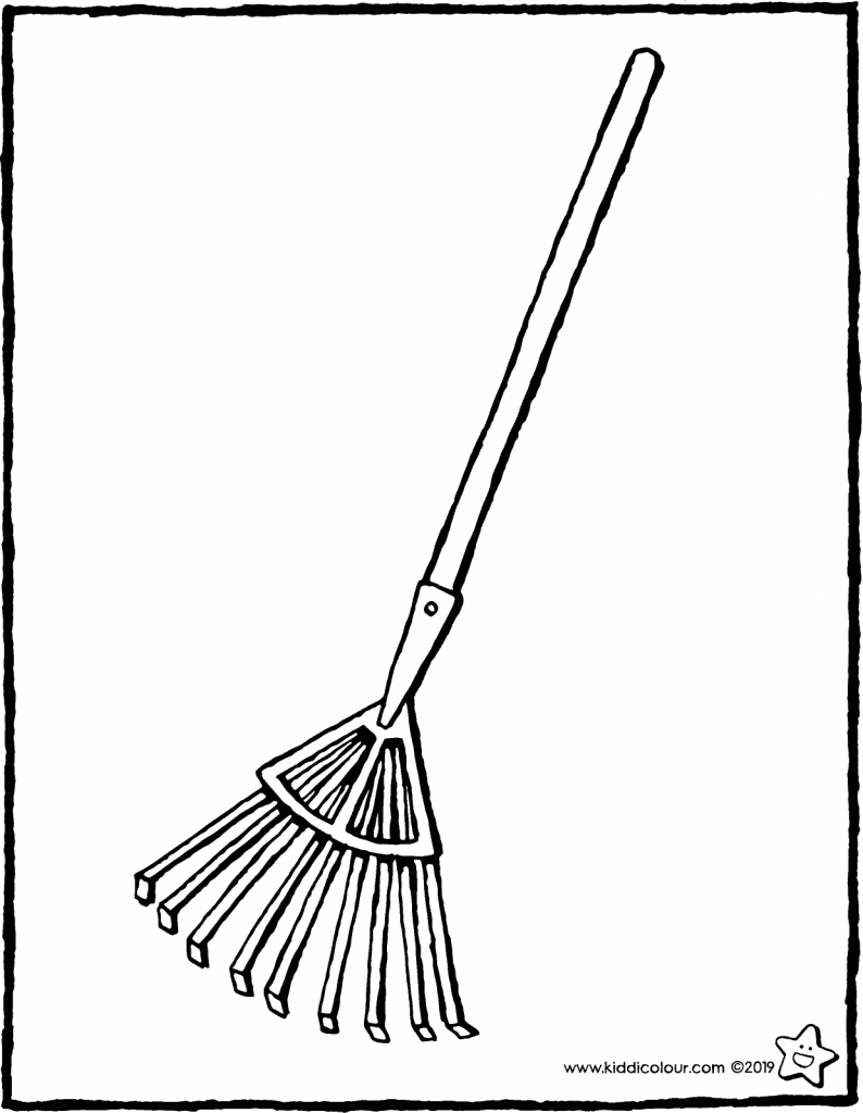 leaf rake colouring page drawing picture 01V