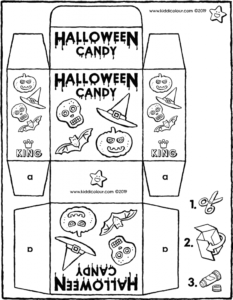 make your own Halloween sweet packet colouring page drawing picture 01V