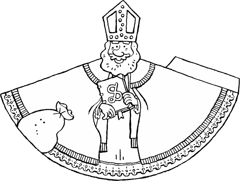 make your own Saint Nicholas figure colouring page drawing picture 01k
