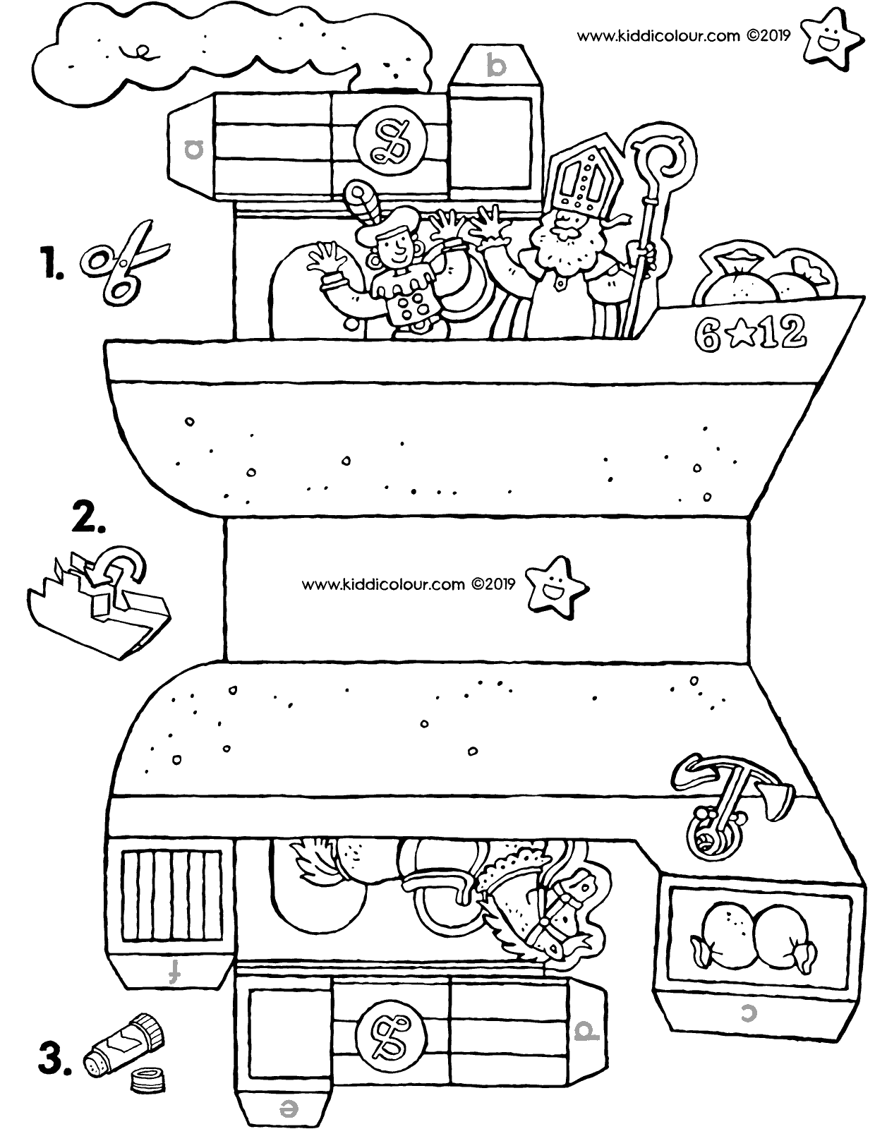 make your own Saint Nicholas steamship colouring page drawing picture 01V 2