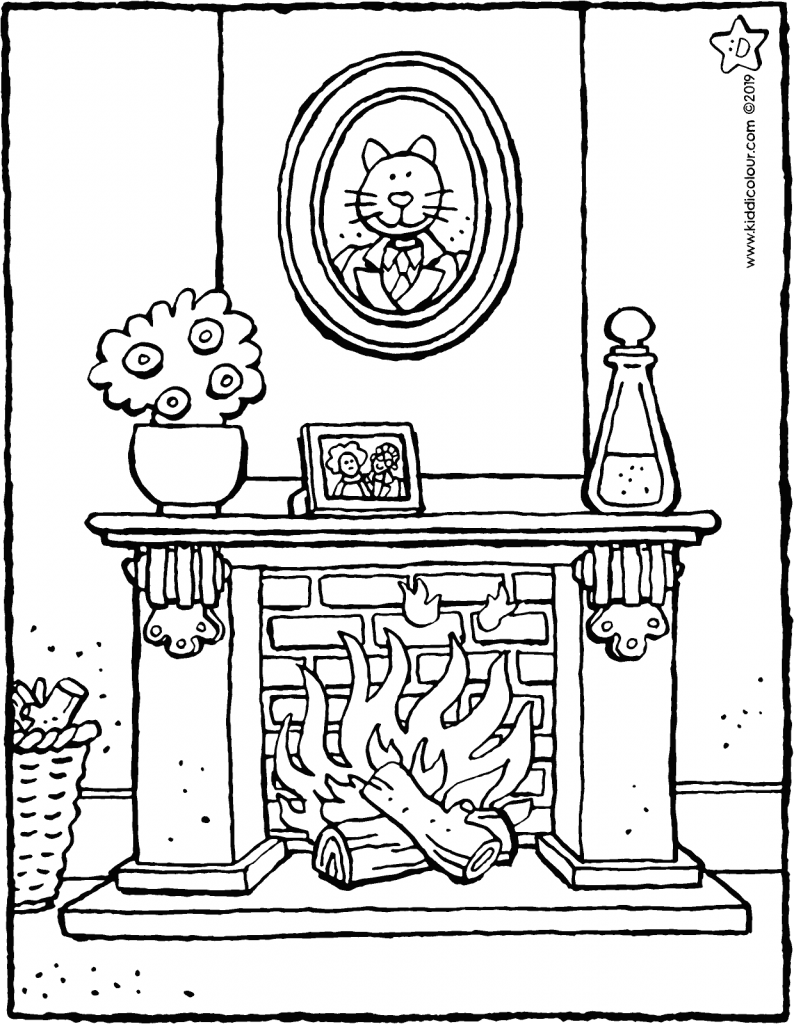 open fire colouring page drawing picture 01V