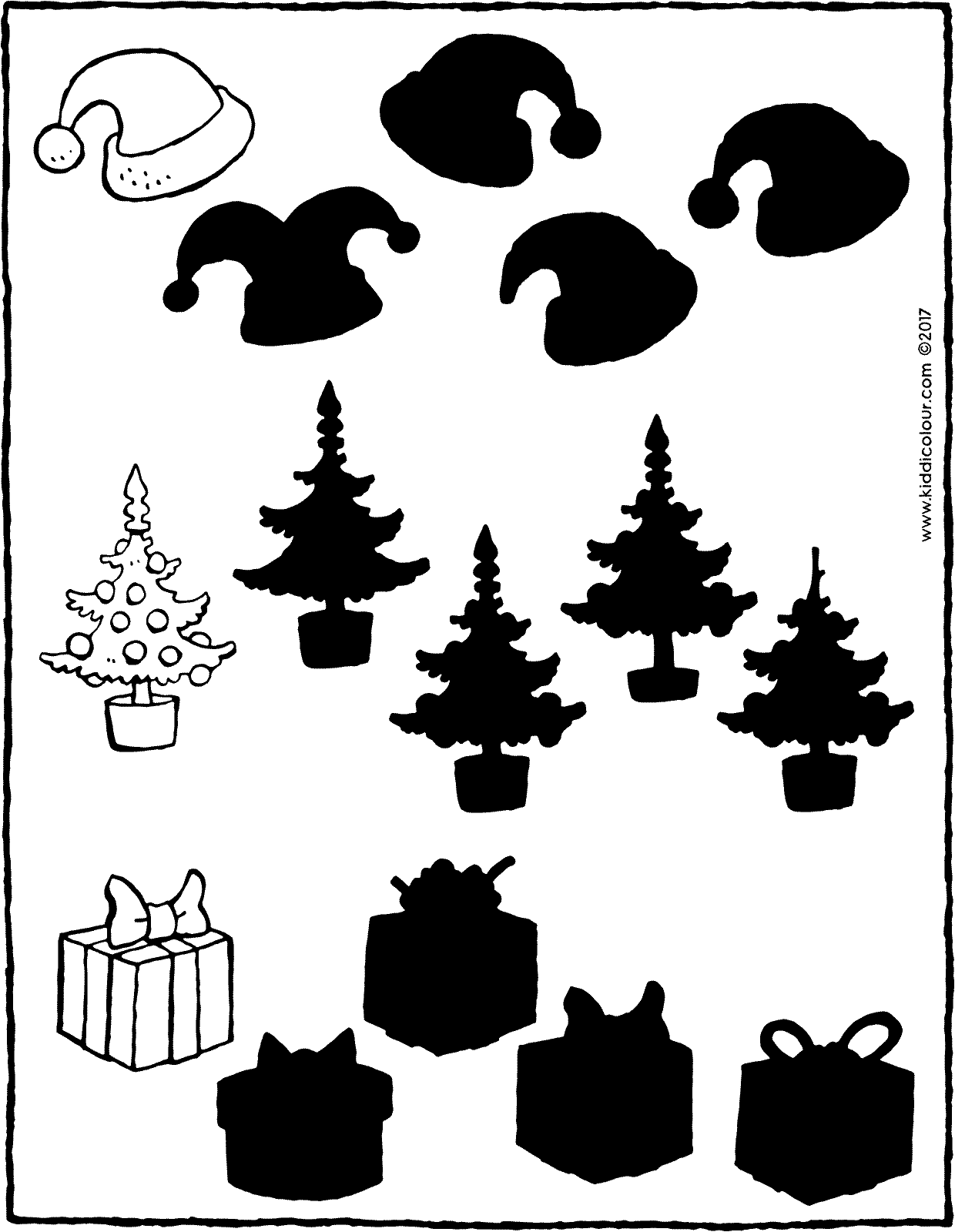 Christmas – spot the correct shadow colouring page drawing picture 01V