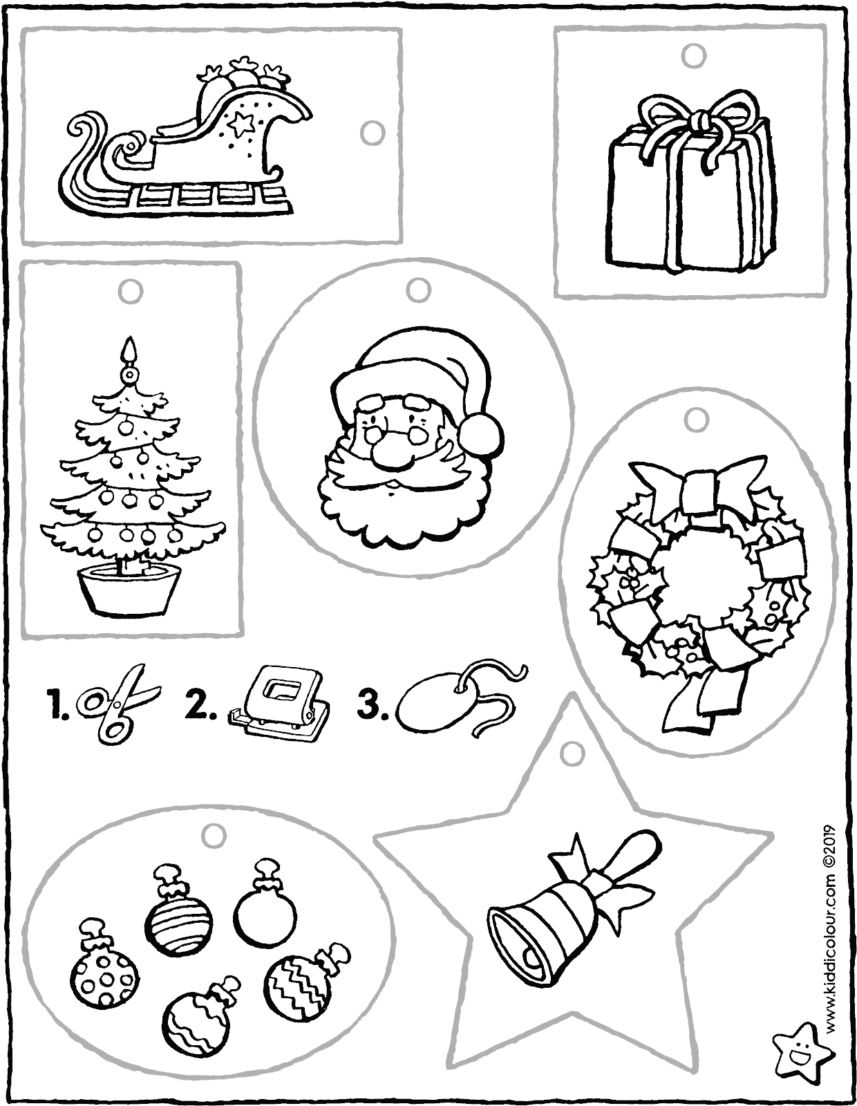 Christmas gift tags colouring page drawing picture 01V