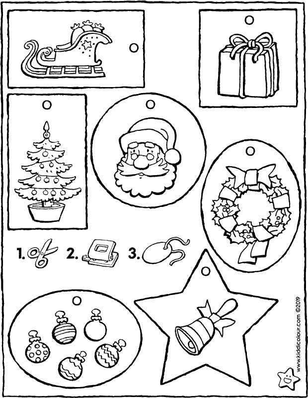 Christmas gift tags colouring page drawing picture 01k