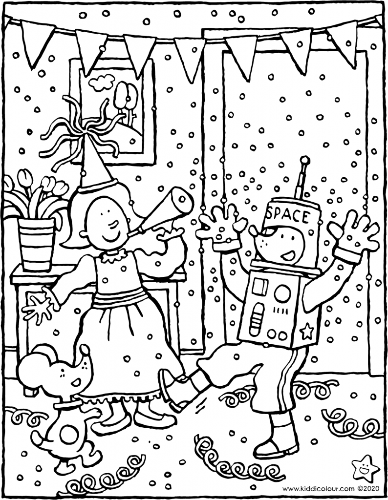 Emma and Thomas celebrate carnival colouring page drawing picture 01V