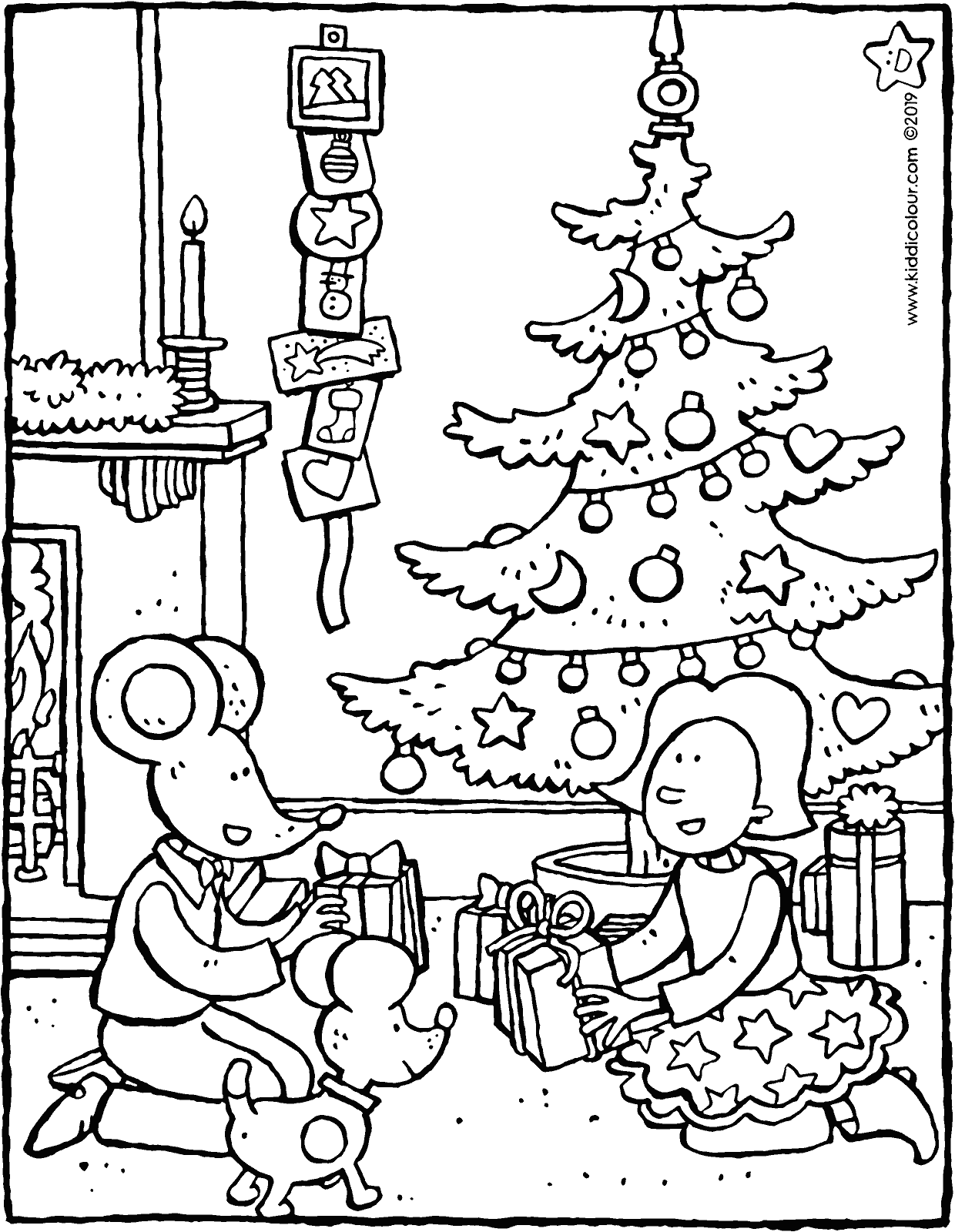 Emma and Thomas give each other a Christmas present colouring page drawing picture 01V