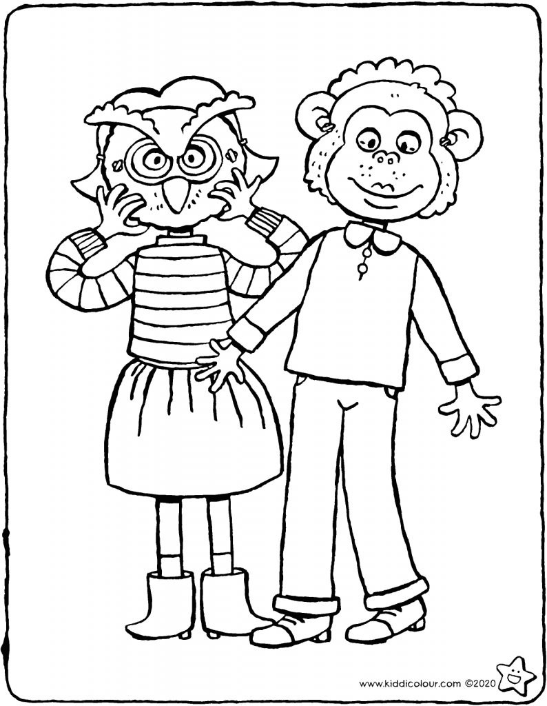 Emma and Thomas wear masks colouring page drawing picture 01V