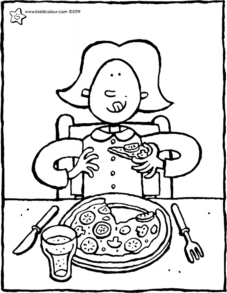 Emma loves eating pizza colouring page drawing picture 01V