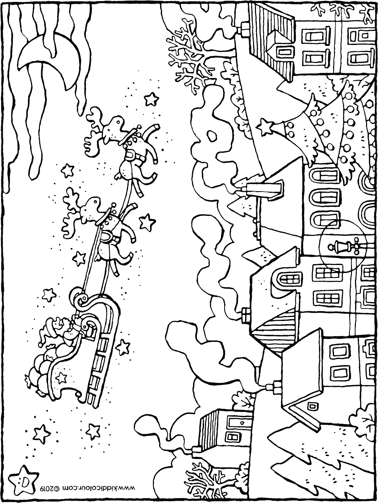 Father Christmas flying over the village in his sleigh colouring page drawing picture 01H