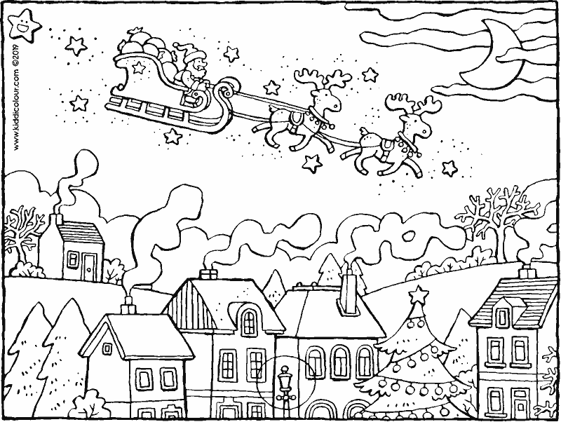 Father Christmas flying over the village in his sleigh colouring page drawing picture 01k