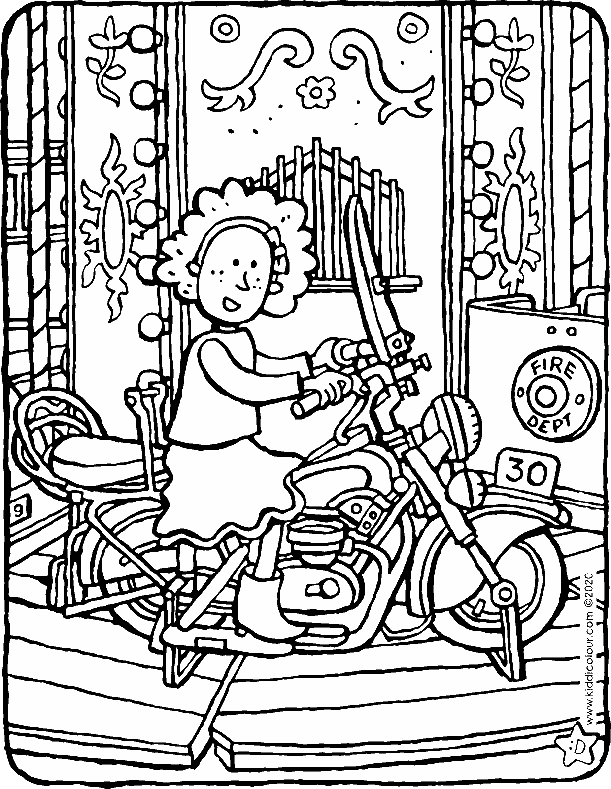 Lucy at the fair colouring page drawing picture