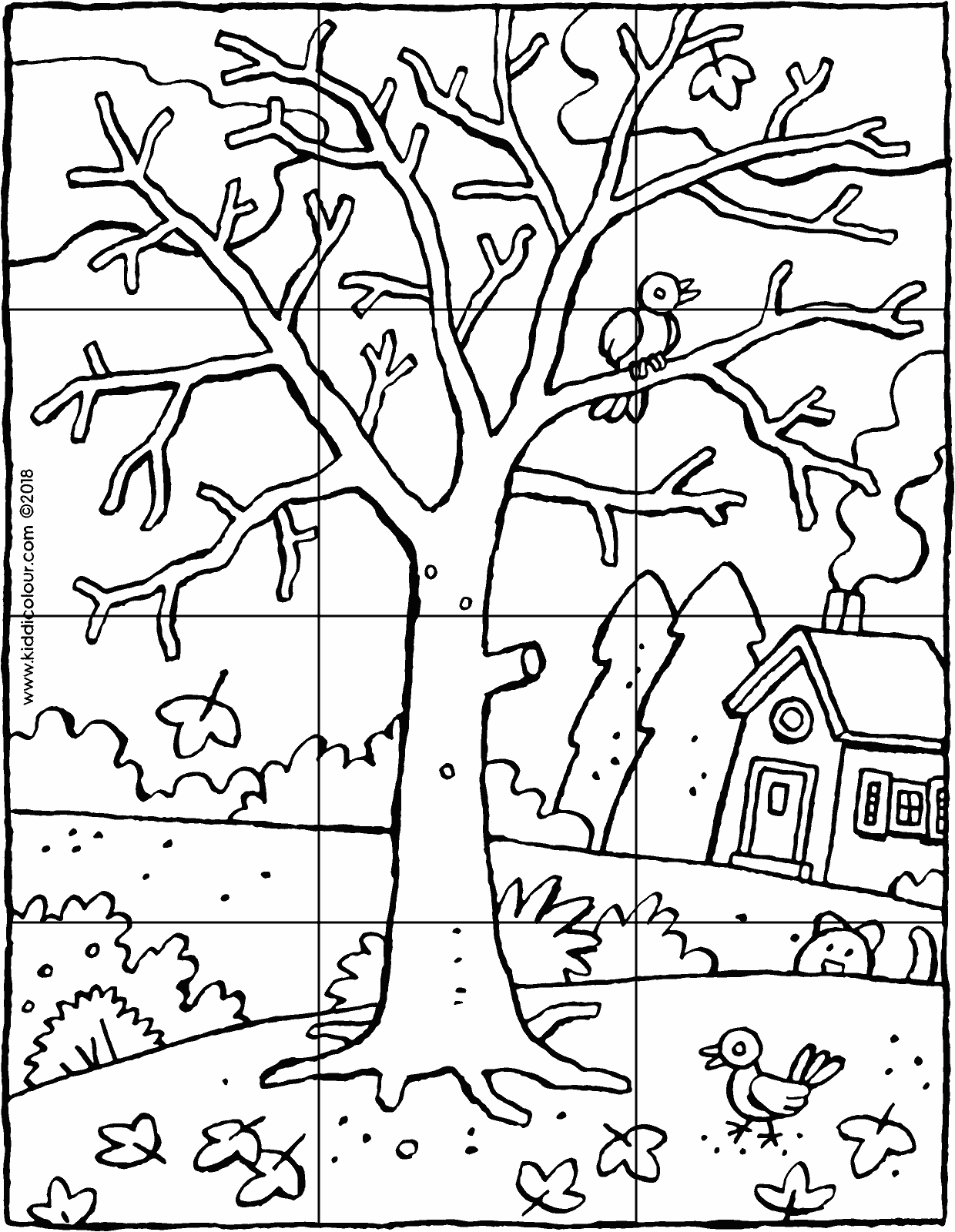 a tree in winter 12-piece puzzle colouring page drawing picture 01V