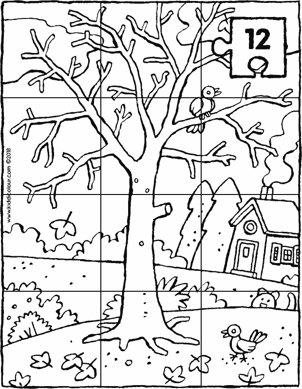 a tree in winter 12-piece puzzle colouring page drawing picture 01k