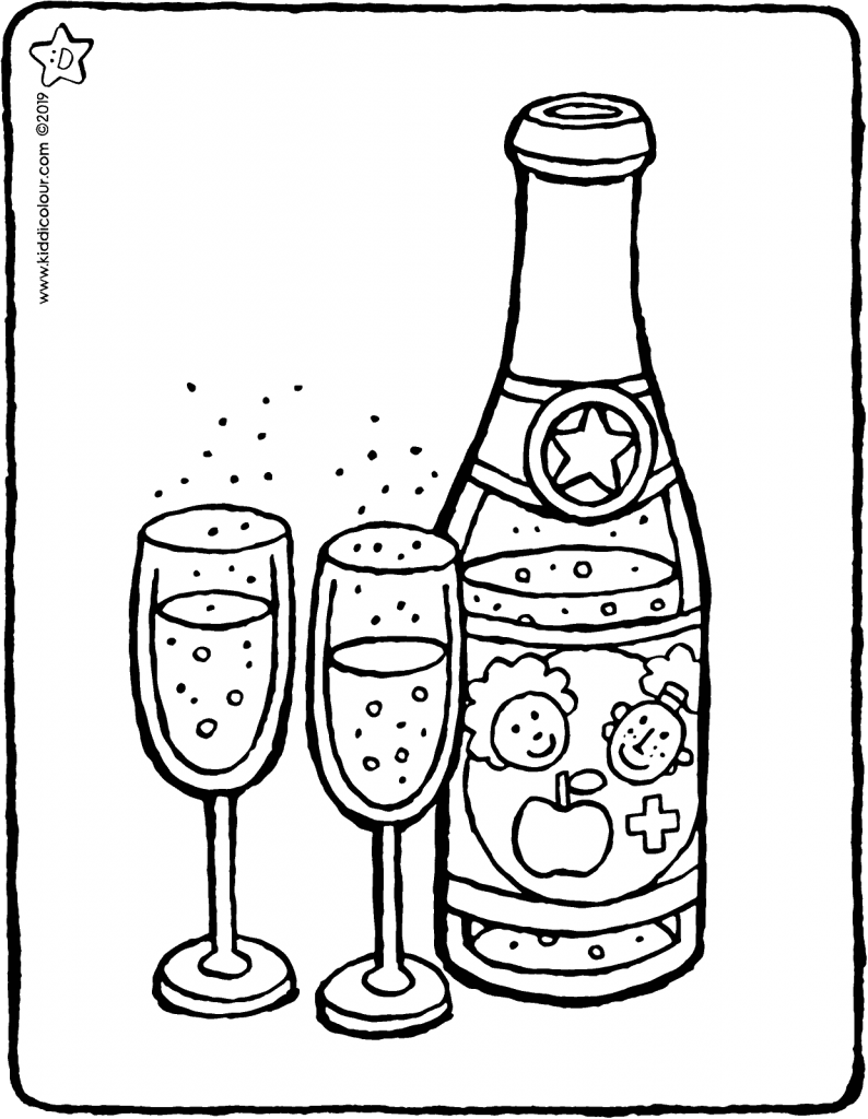 children's champagne colouring page drawing picture 01V