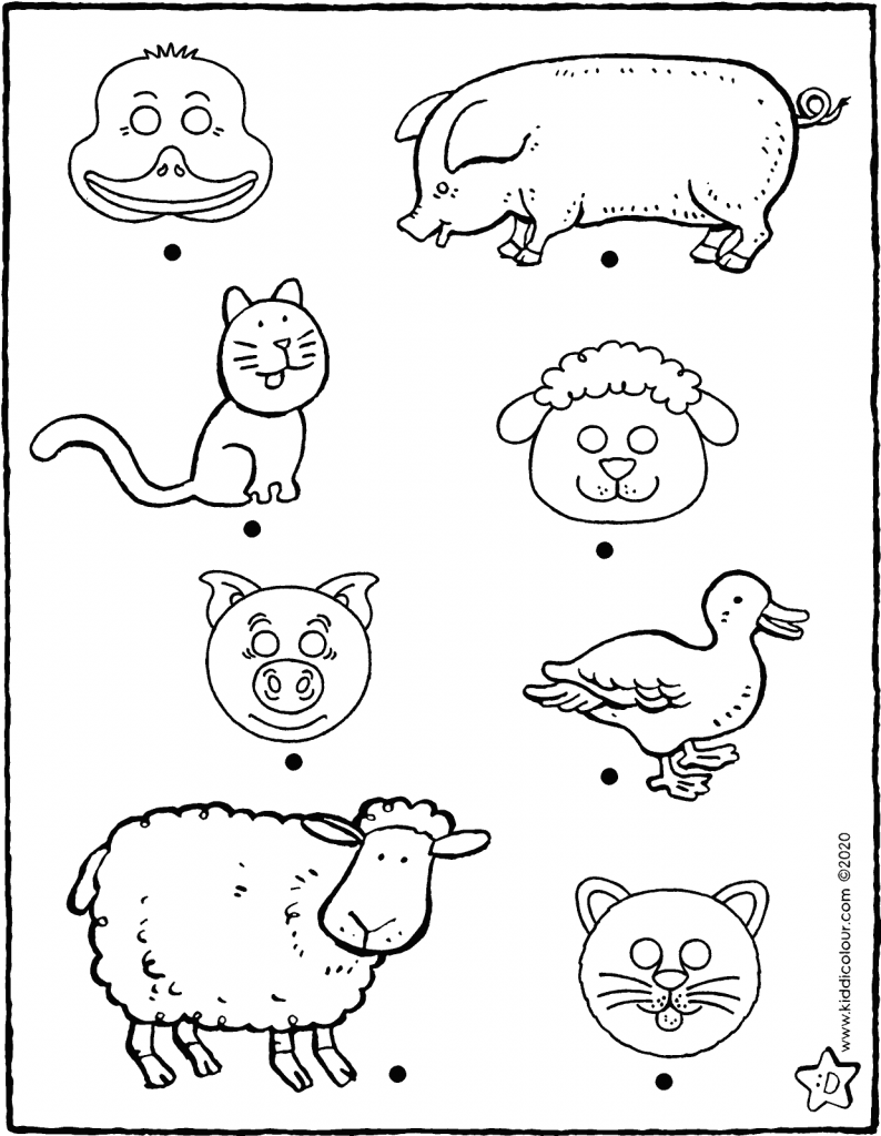 connect every mask to the correct animal colouring page drawing picture