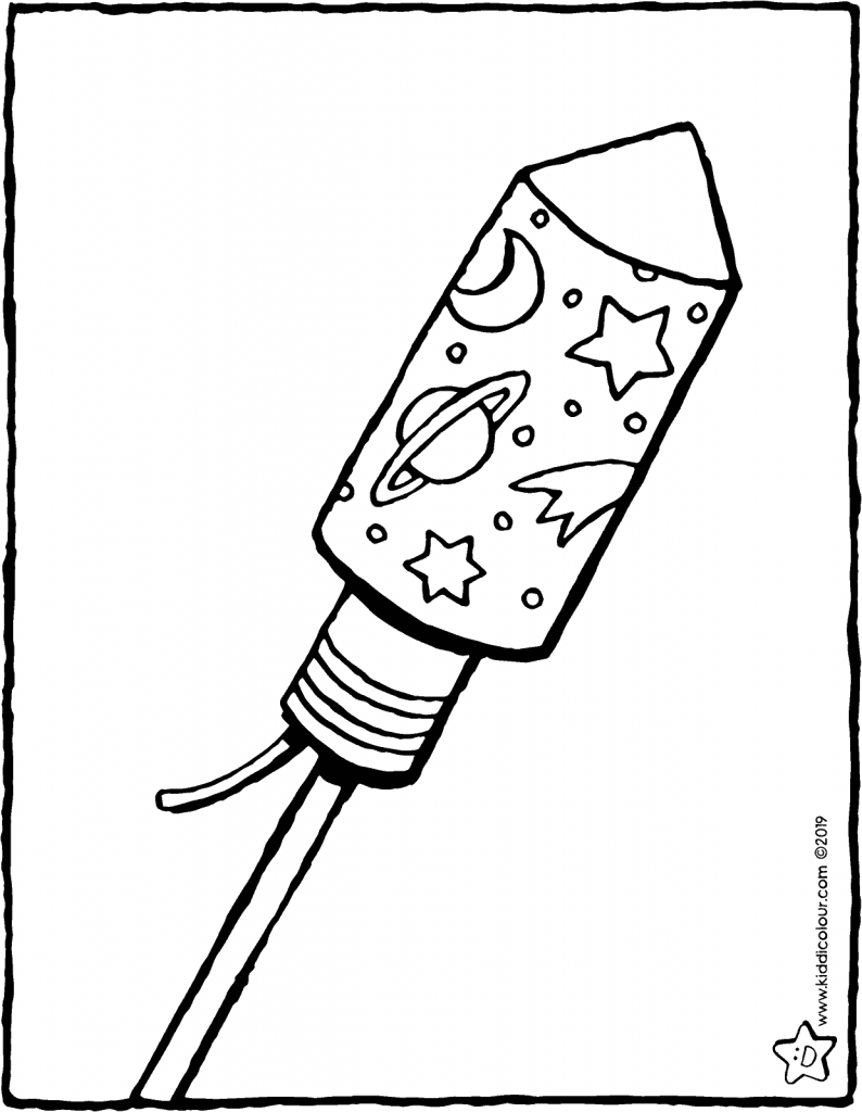 fireworks rocket colouring page drawing picture 01V