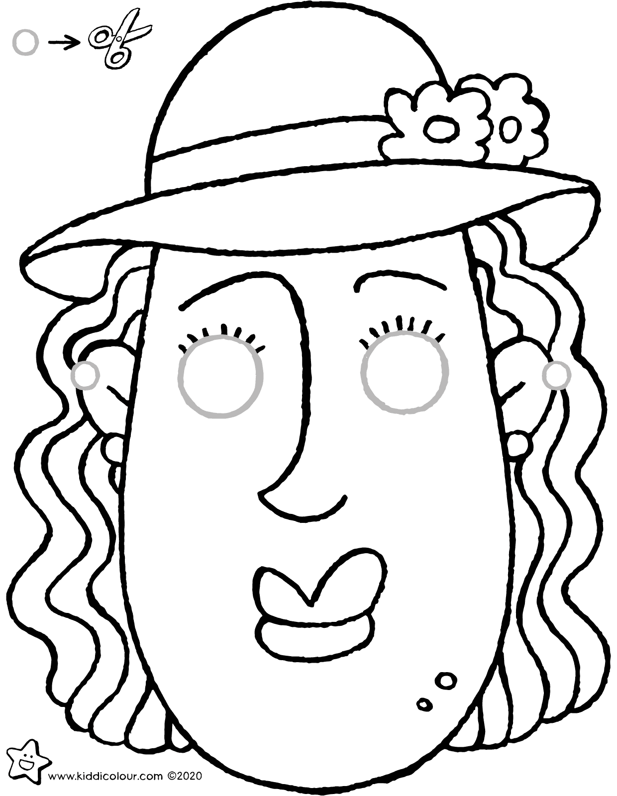 make your own 'Judith' mask colouring page drawing picture 01V