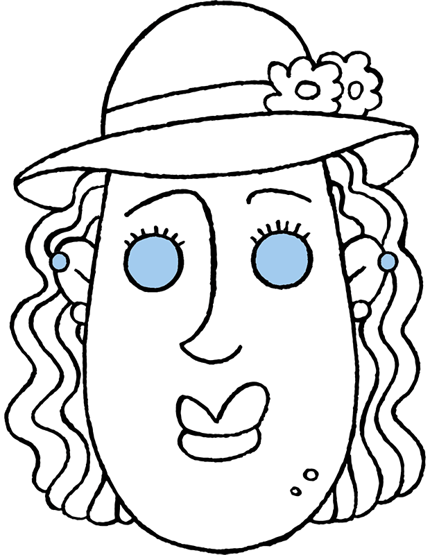 make your own 'Judith' mask colouring page drawing picture 01k