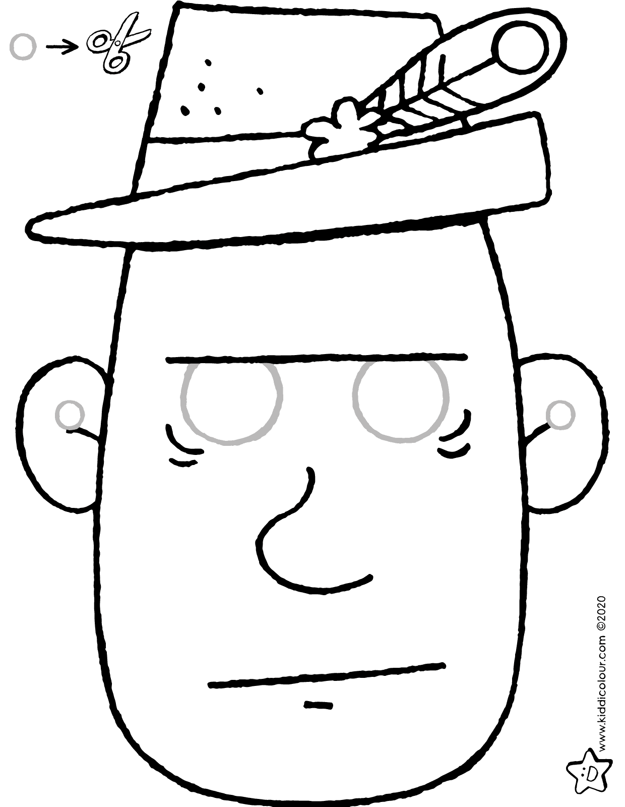 make your own 'Ludo' mask colouring page drawing picture 01V