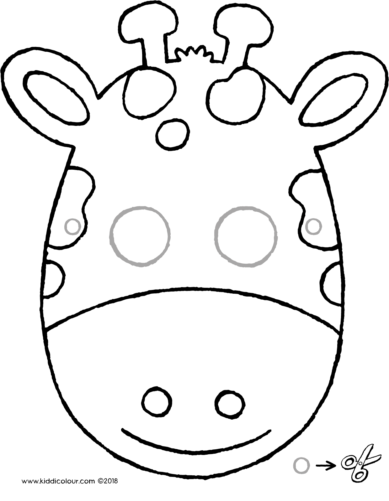 make your own giraffe mask colouring page drawing picture 01V