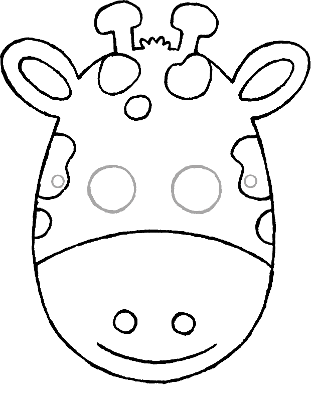 make your own giraffe mask colouring page drawing picture 01k