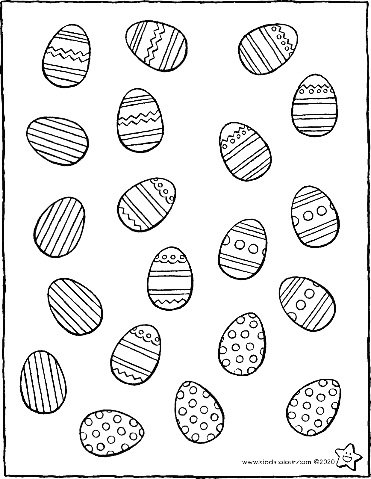 Easter make collections of the same Easter eggs colouring page drawing picture 01V