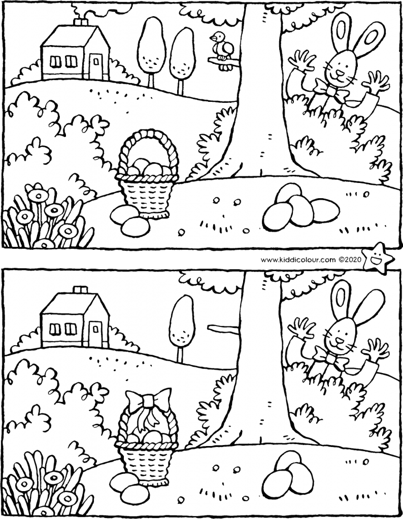 Easter spot the 7 differences colouring page drawing picture 01V