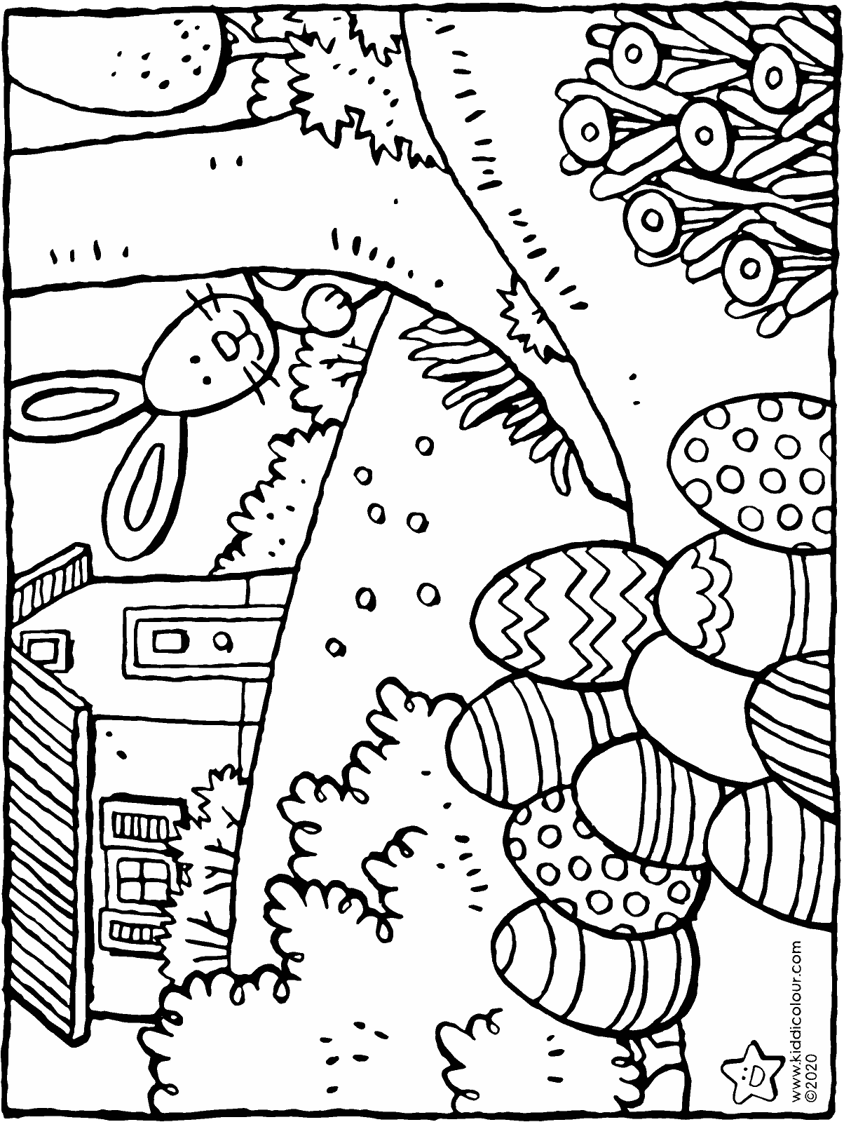 big Easter eggs from the Easter bunny colouring page drawing picture 01H