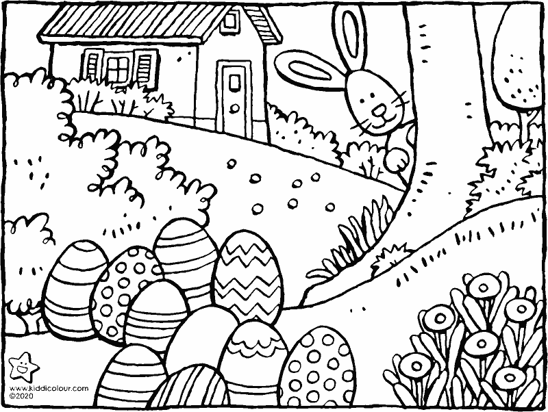 big Easter eggs from the Easter bunny colouring page drawing picture 01k