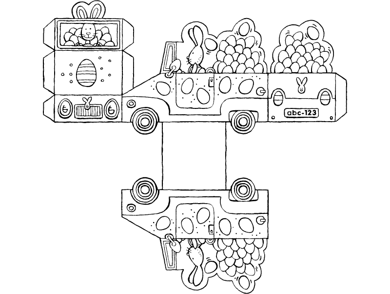 make your own Easter bunny in a car colouring page drawing picture 01k
