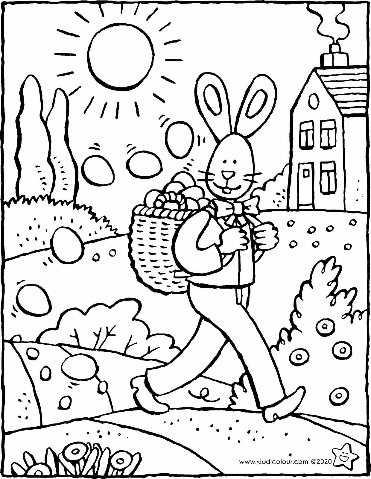 the Easter bunny distributes Easter eggs colouring page drawing picture 01V