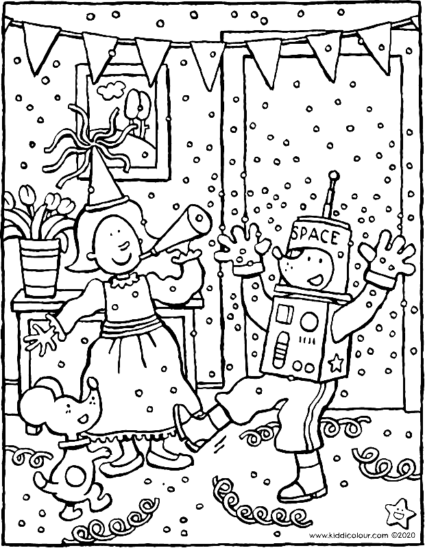 Emma and Thomas celebrate carnival colouring page drawing picture 01k